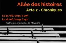 Allée des histoires – Acte 2 – Chroniques – 15 et 16 juin 2019